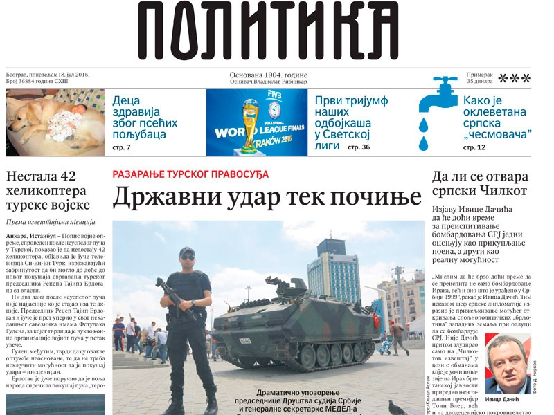 Cover page of today's newspaper Politika with the article on Turkish coup