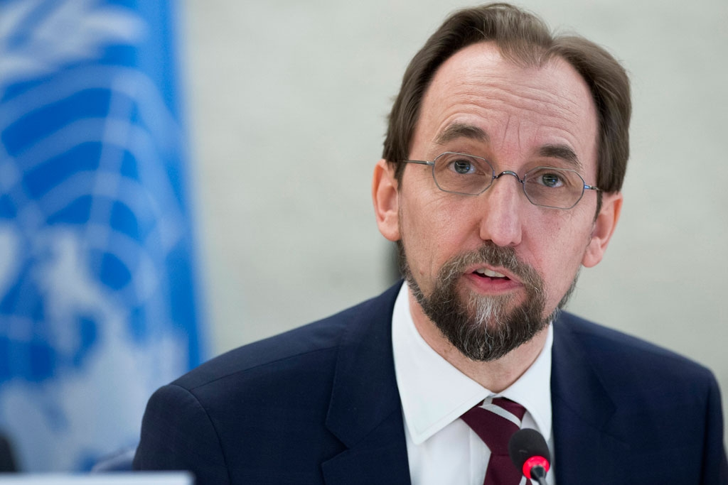 High Commissioner for Human Rights Zeid Ra'ad Al Hussein addresses the 31st regular session of the Human Rights Council in Geneva. UN Photo/Jean-Marc Ferré